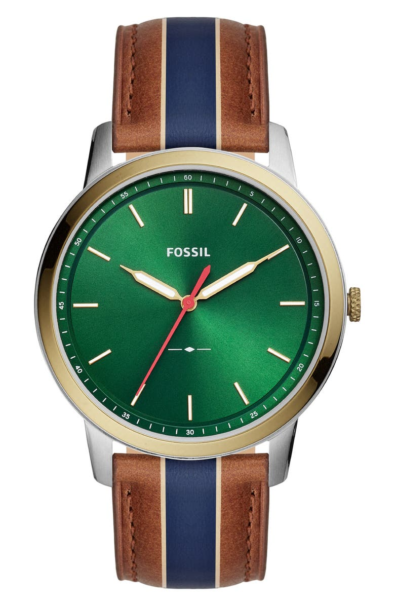 FOSSIL Minimalist Leather Strap Watch, 44mm, Main, color, BROWN/BLUE/GREEN/GOLD/SILVER