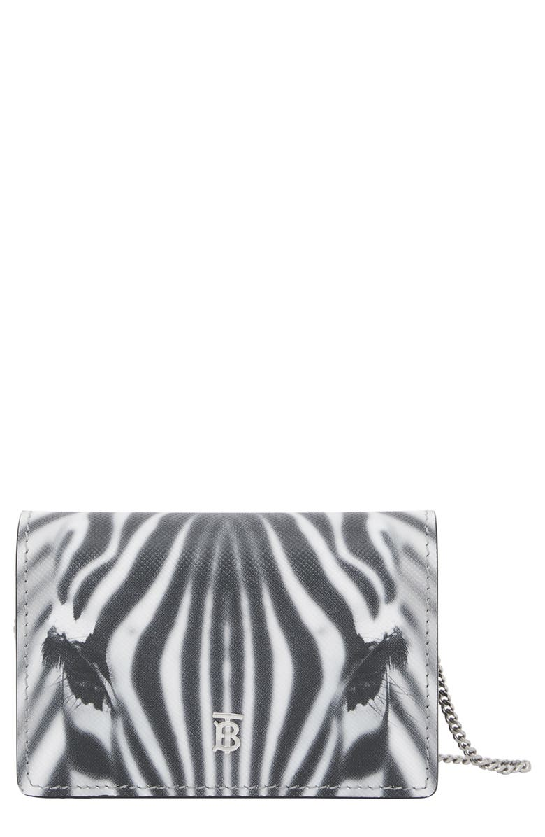 BURBERRY Jessie Zebra Print Calfskin Leather Card Case, Main, color, BLACK