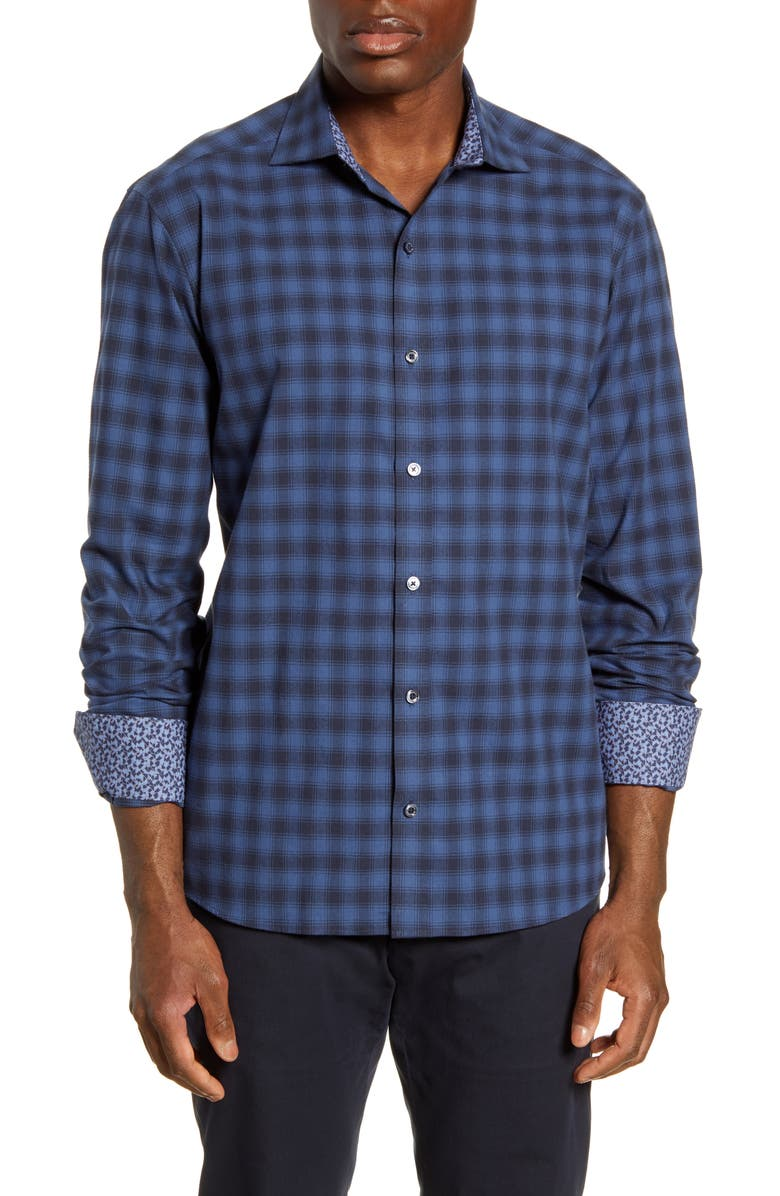 BUGATCHI Shaped Fit Plaid Button-Up Shirt, Main, color, NAVY