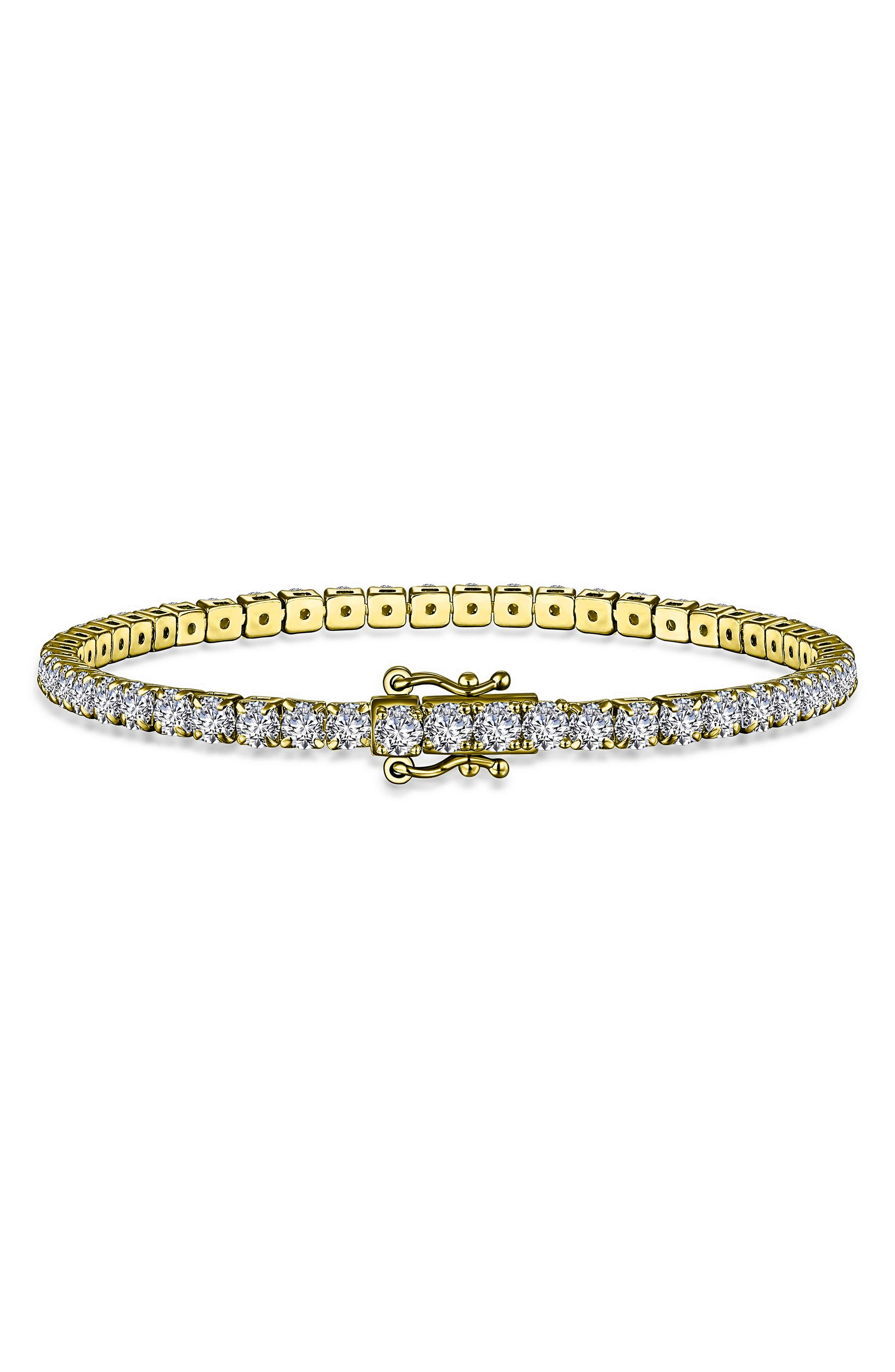 Gorgeous simulated diamonds gleam atop this dainty tennis bracelet, making it a stunning addition to your everyday rotation. Style Name: Laffon Simulated Diamond Tennis Bracelet. Style Number: 6183379. Available in stores.