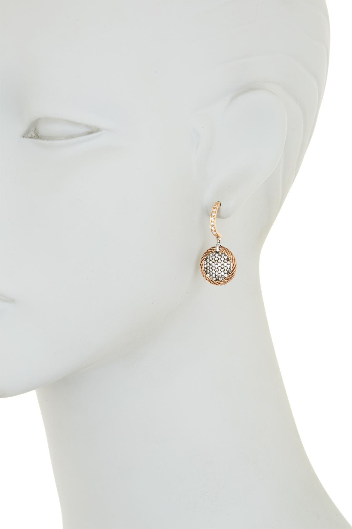 Image of ALOR 18K Rose Gold & Stainless Steel Micro-Cable Diamond Drop Earrings - 1.15 ctw
