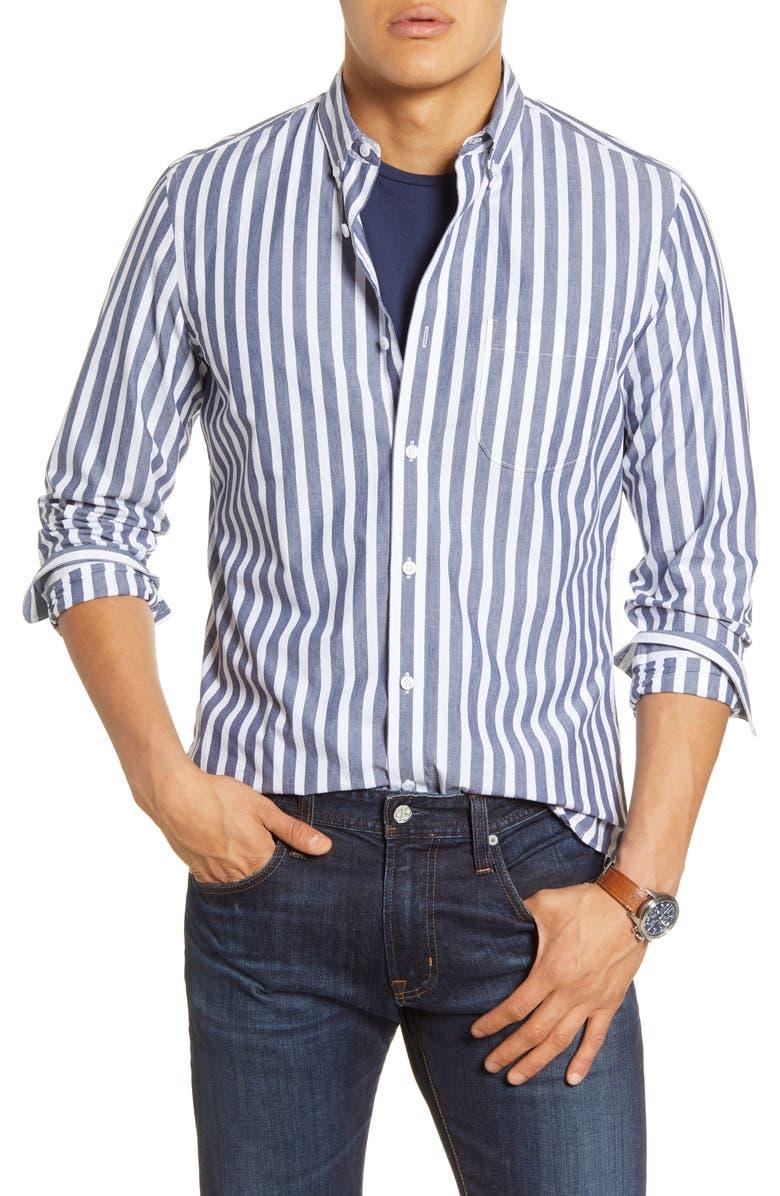 1901 Trim Fit Stripe Button-Down Shirt, Main, color, 410
