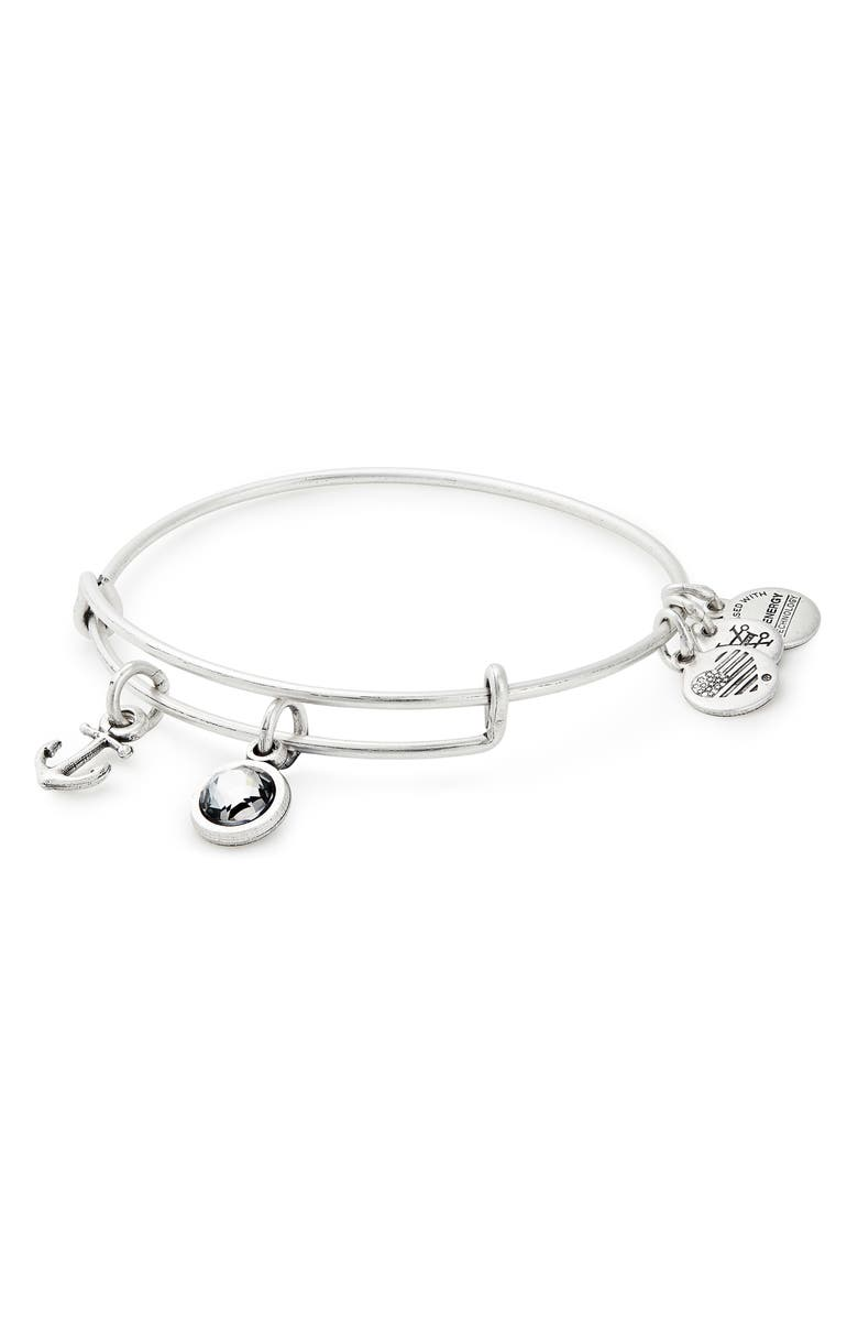 ALEX AND ANI Strength Adjustable Wire Bangle, Main, color, SILVER