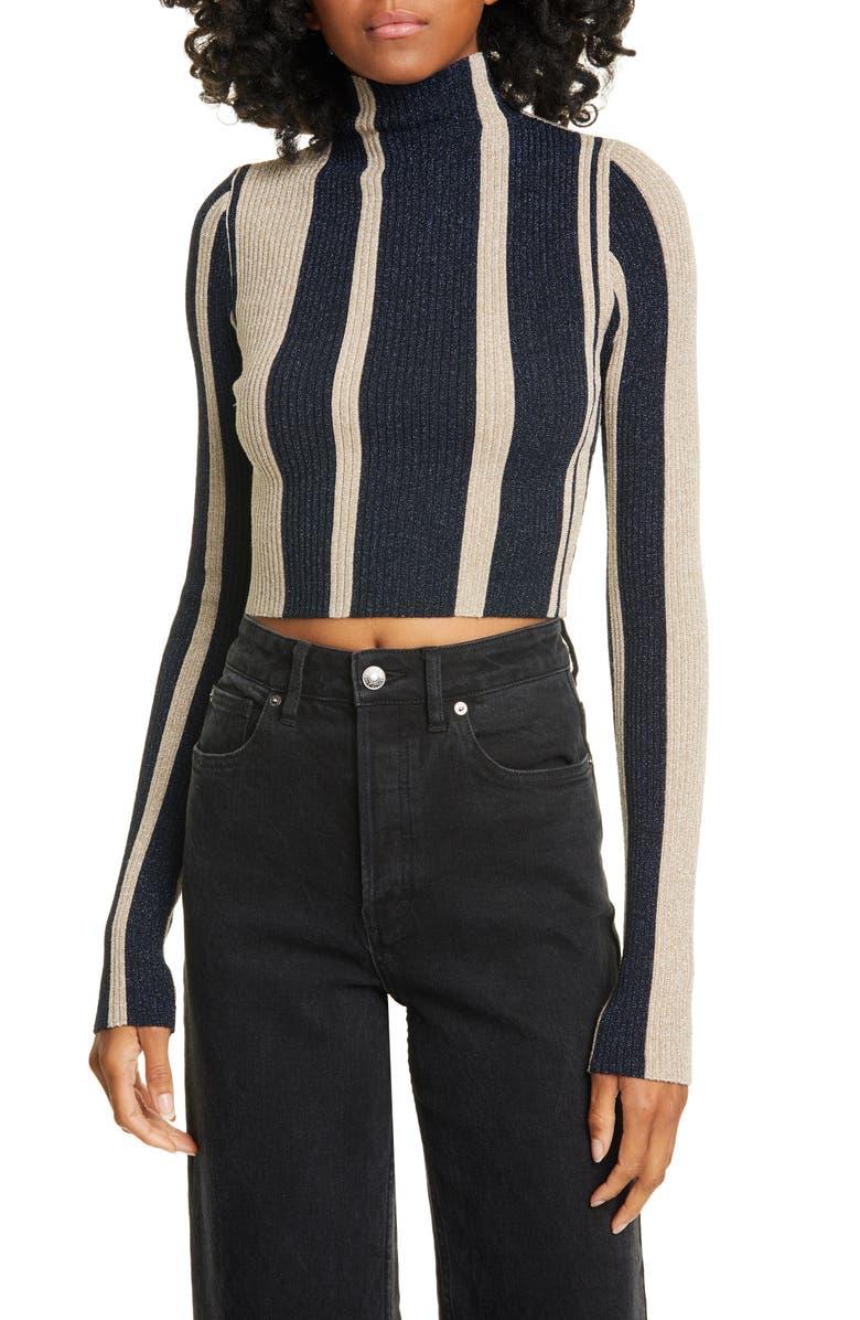 SELF-PORTRAIT Metallic Stripe Funnel Neck Crop Sweater, Main, color, NAVY/ BEIGE