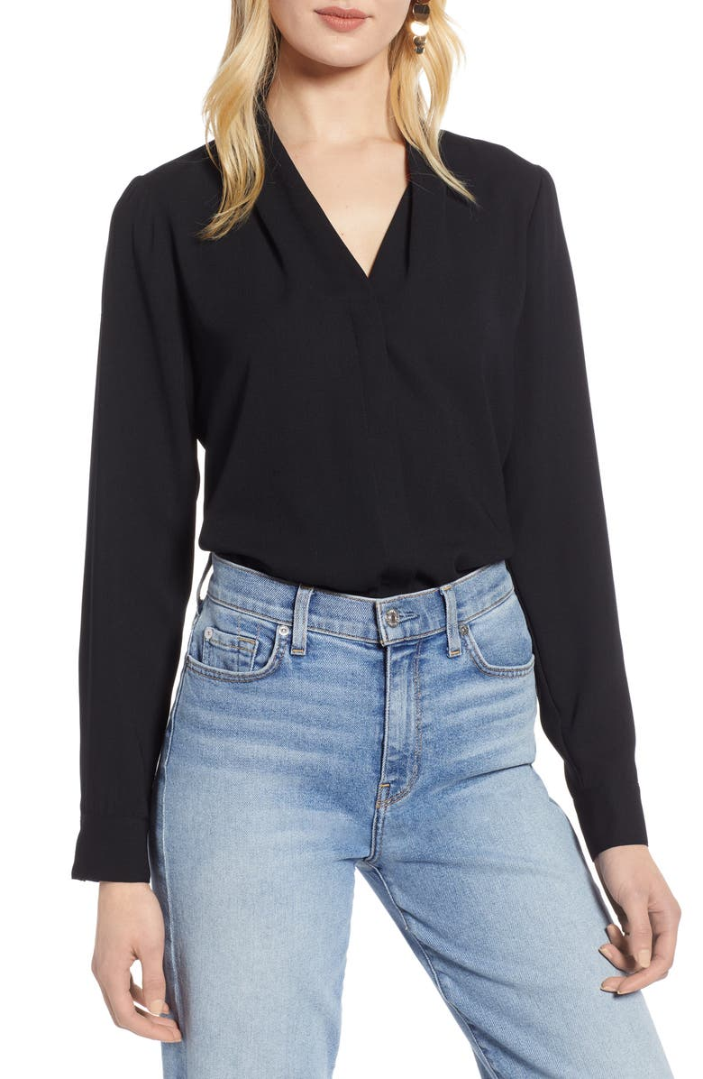 HALOGEN<SUP>®</SUP> Halogen V-Neck Top, Main, color, BLACK