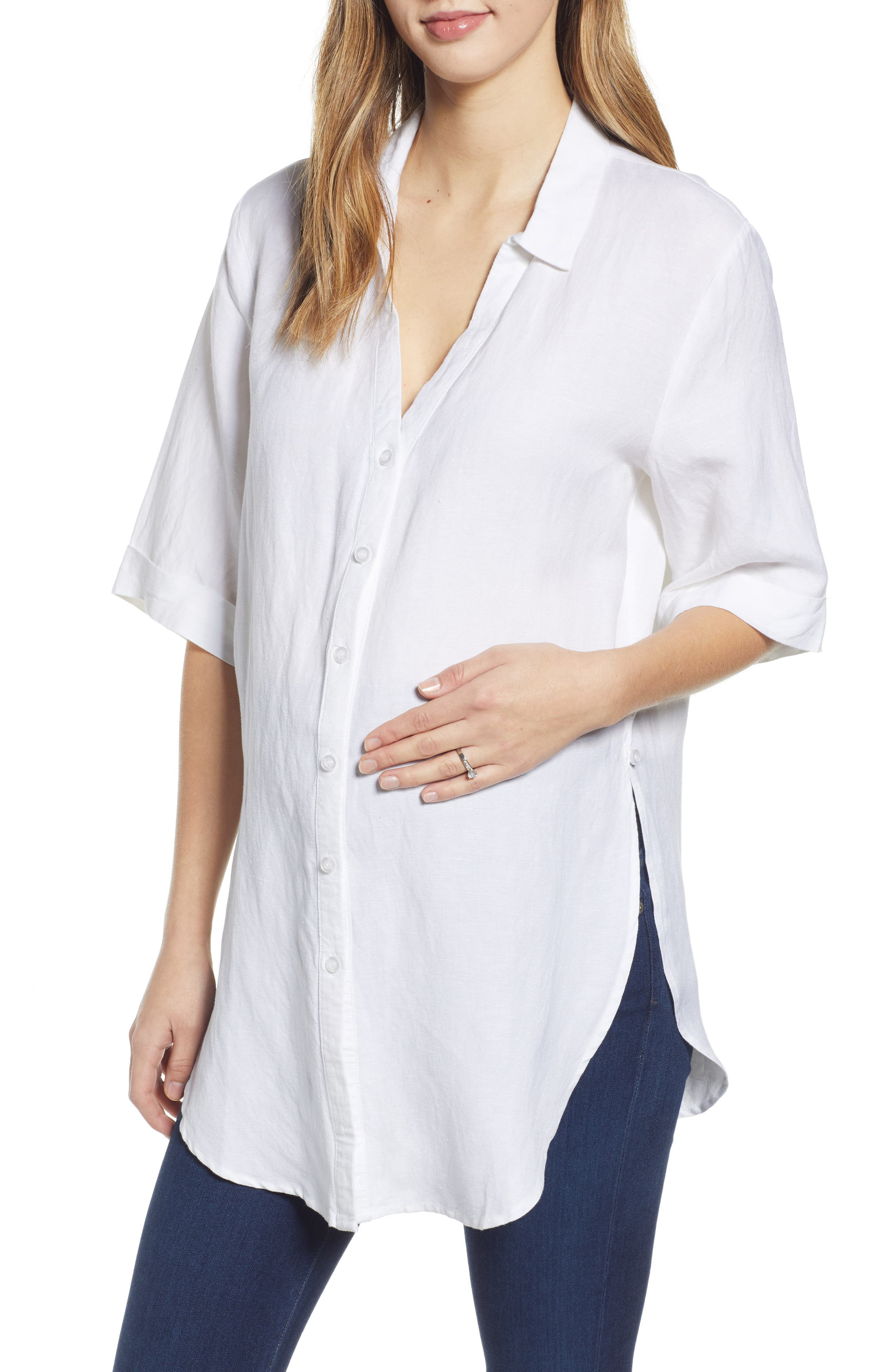 Tie Front Maternity Button-Up Shirt