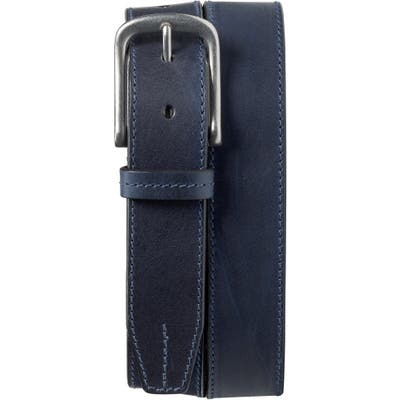 Trask Leather Belt, Navy