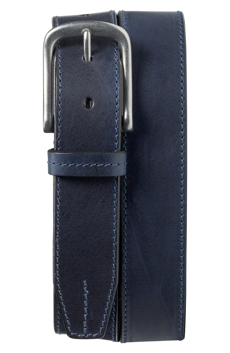 TRASK Leather Belt, Main, color, NAVY