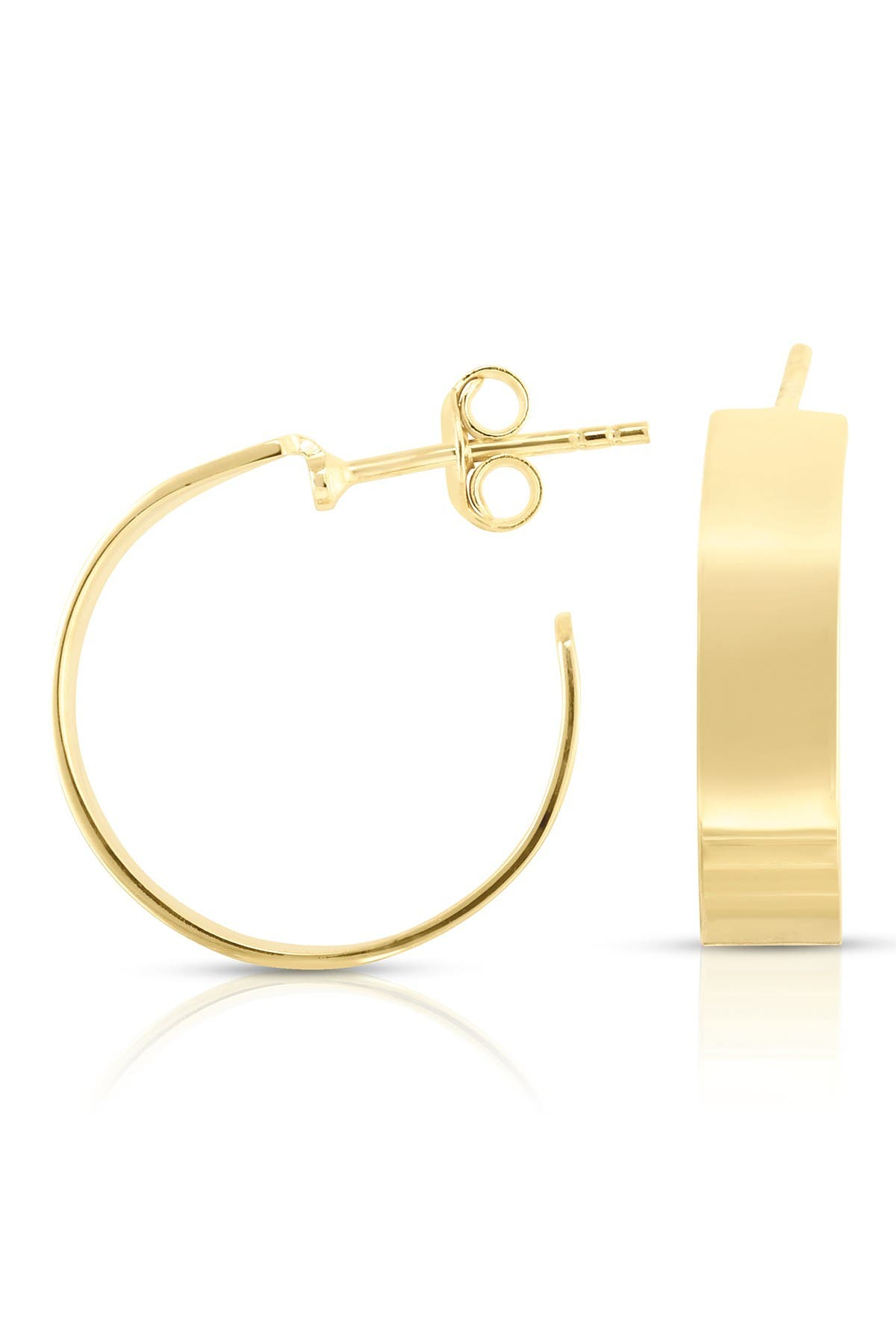 Image of Sphera Milano 14K Yellow Gold Plated Sterling Silver Small Wide 15mm Hoop Earrings