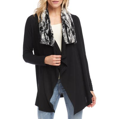 Karen Kane Faux Fur Collar Knit Jacket, Black