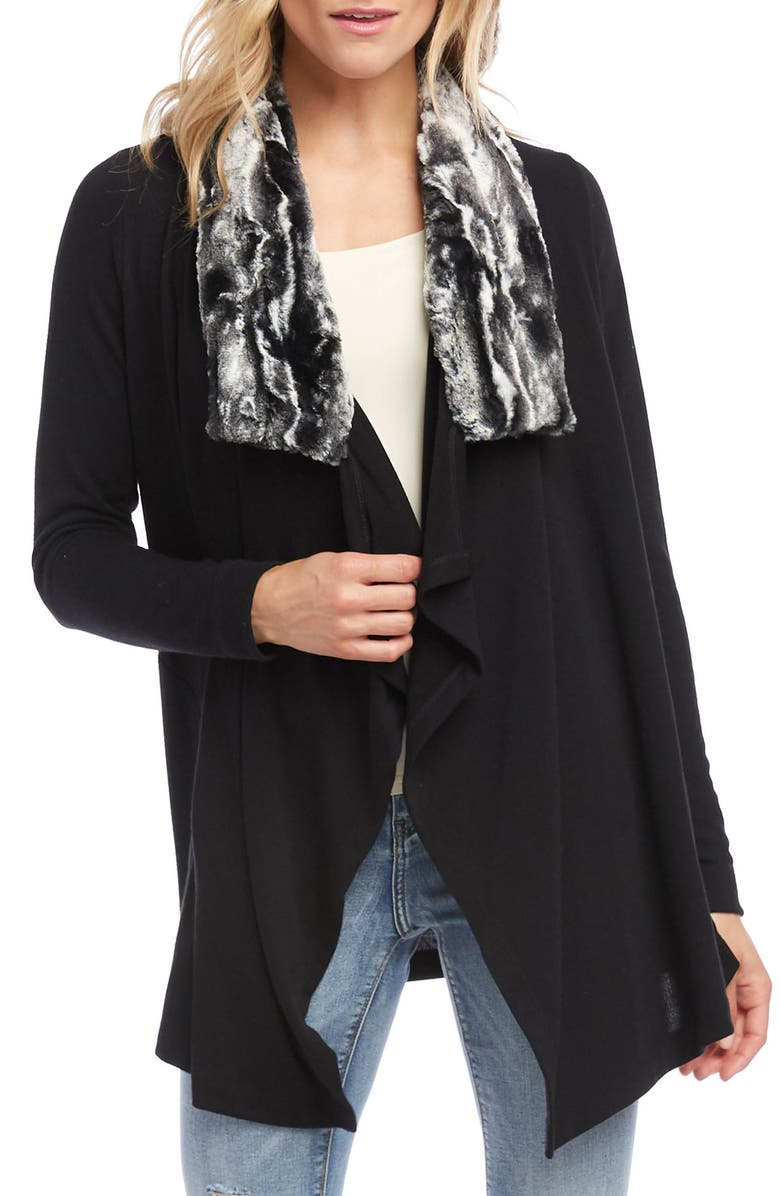 KAREN KANE Faux Fur Collar Knit Jacket, Main, color, BLACK