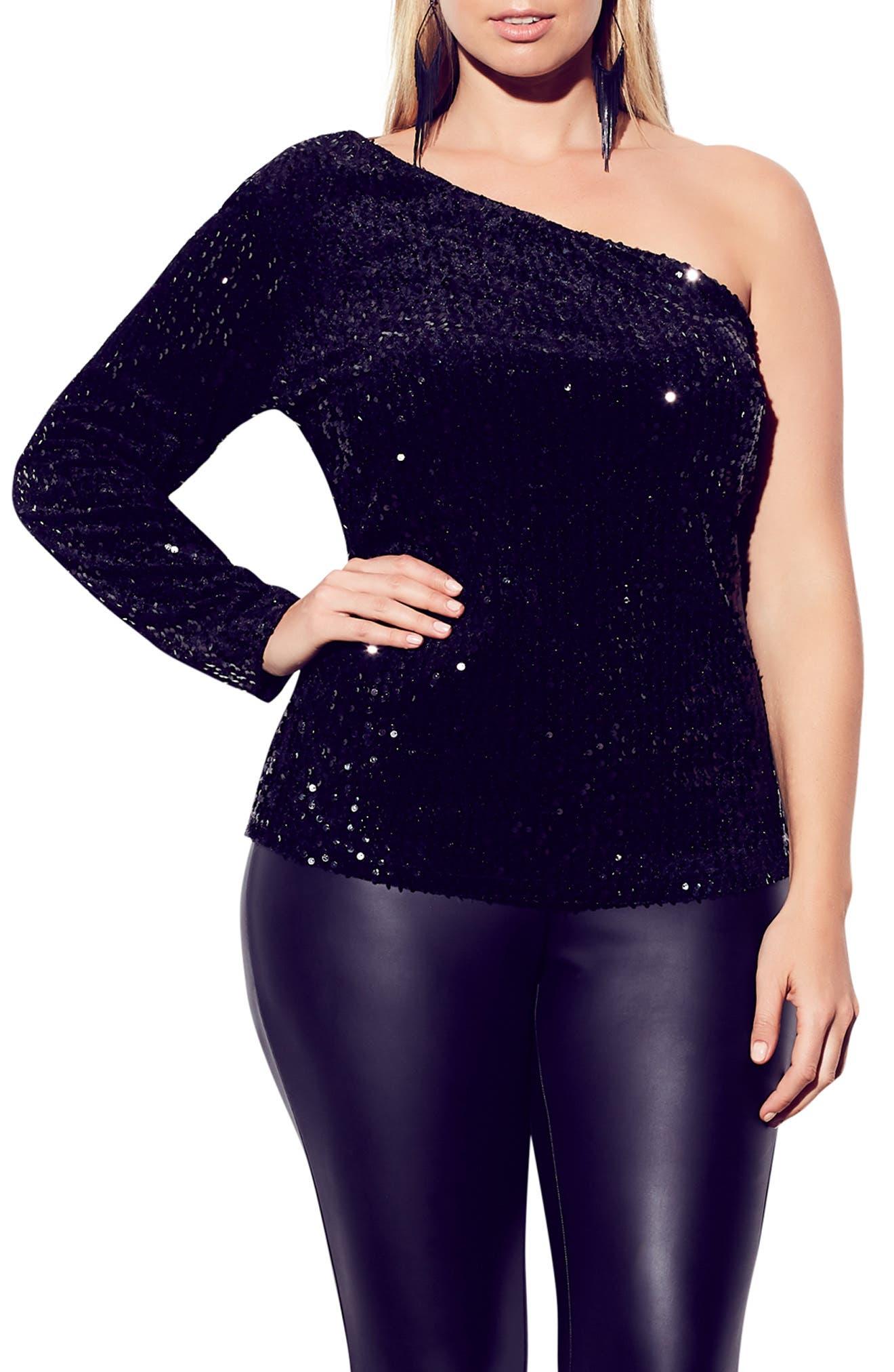 Disco Fever One-Shoulder Sequin Top, Main, color, BLACK