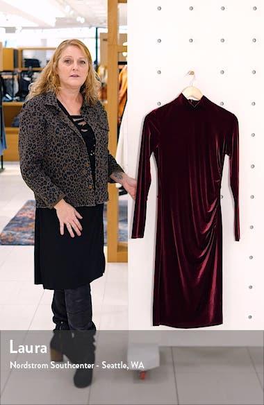 Long Sleeve Mock Neck Velvet Dress, sales video thumbnail