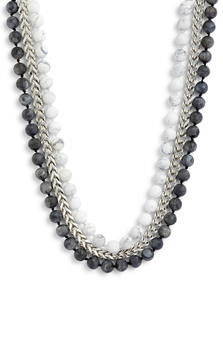 KARINE SULTAN Layered Bead & Curb Chain Necklace, Main, color, SILVER
