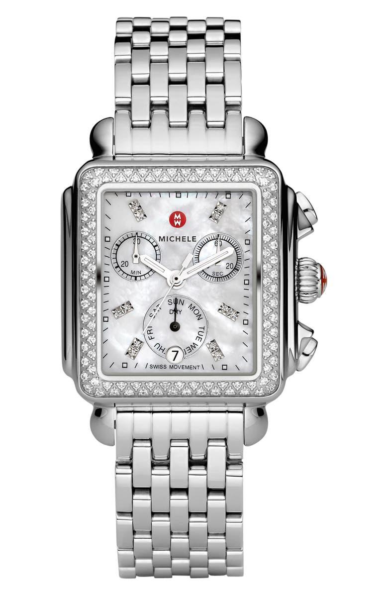 MICHELE Deco Diamond Chronograph Watch Head & Bracelet, 33mm, Main, color, 040
