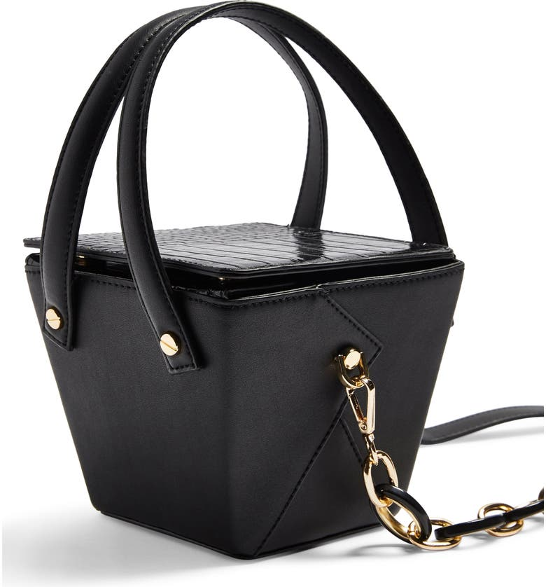 Topshop Crush Croc Embossed Bucket Bag