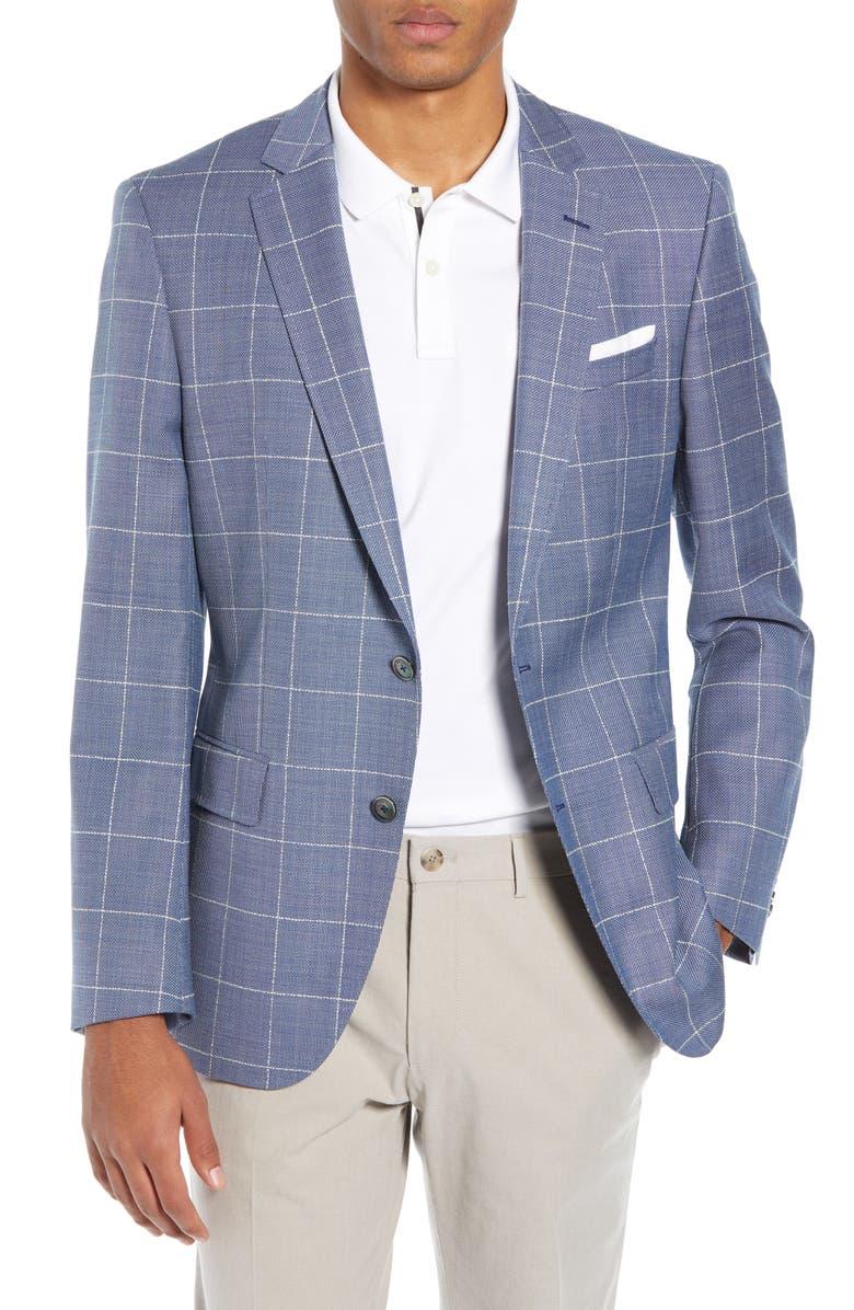 BOSS Hutsons Slim Fit Windowpane Wool Sport Coat, Main, color, 419