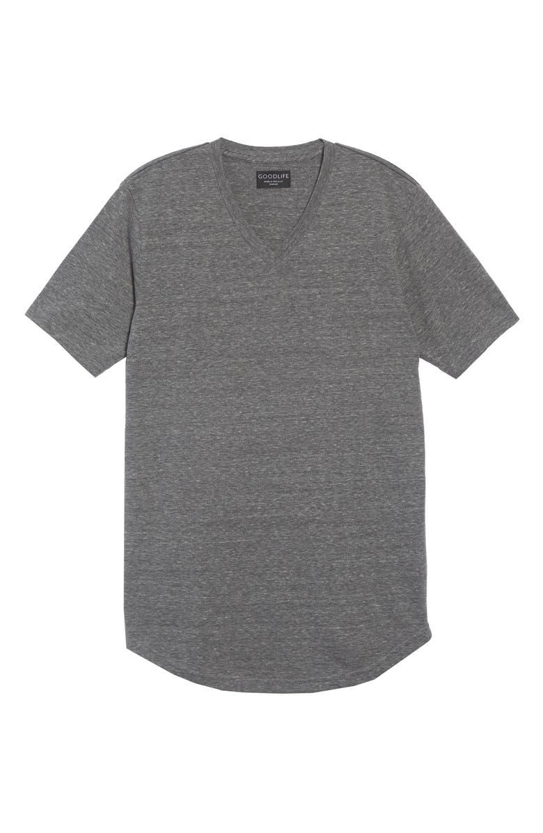 GOODLIFE Scallop Triblend V-Neck T-Shirt, Main, color, HEATHER GREY