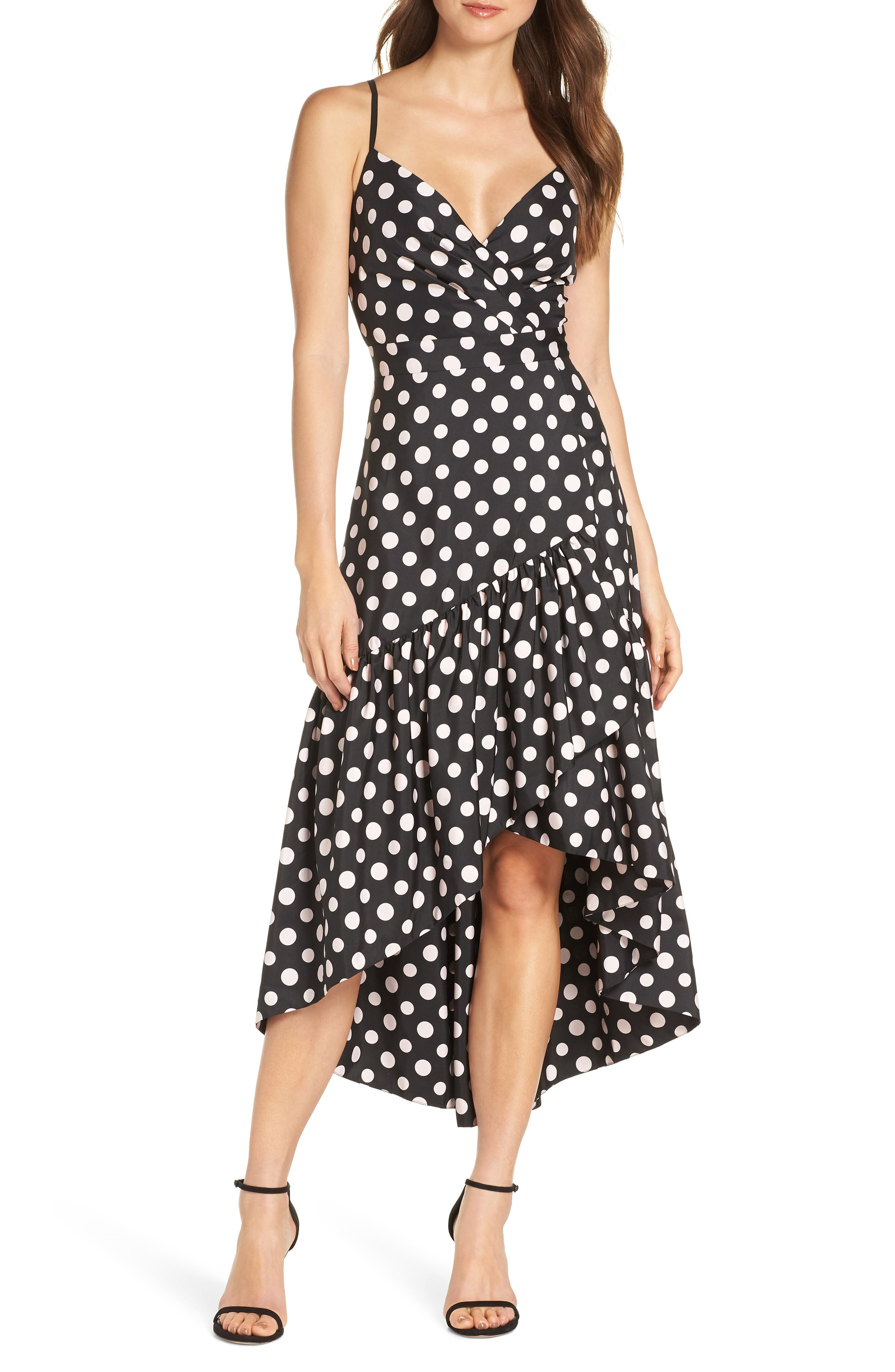 Eliza J Dot Print High/low Party Dress, Black
