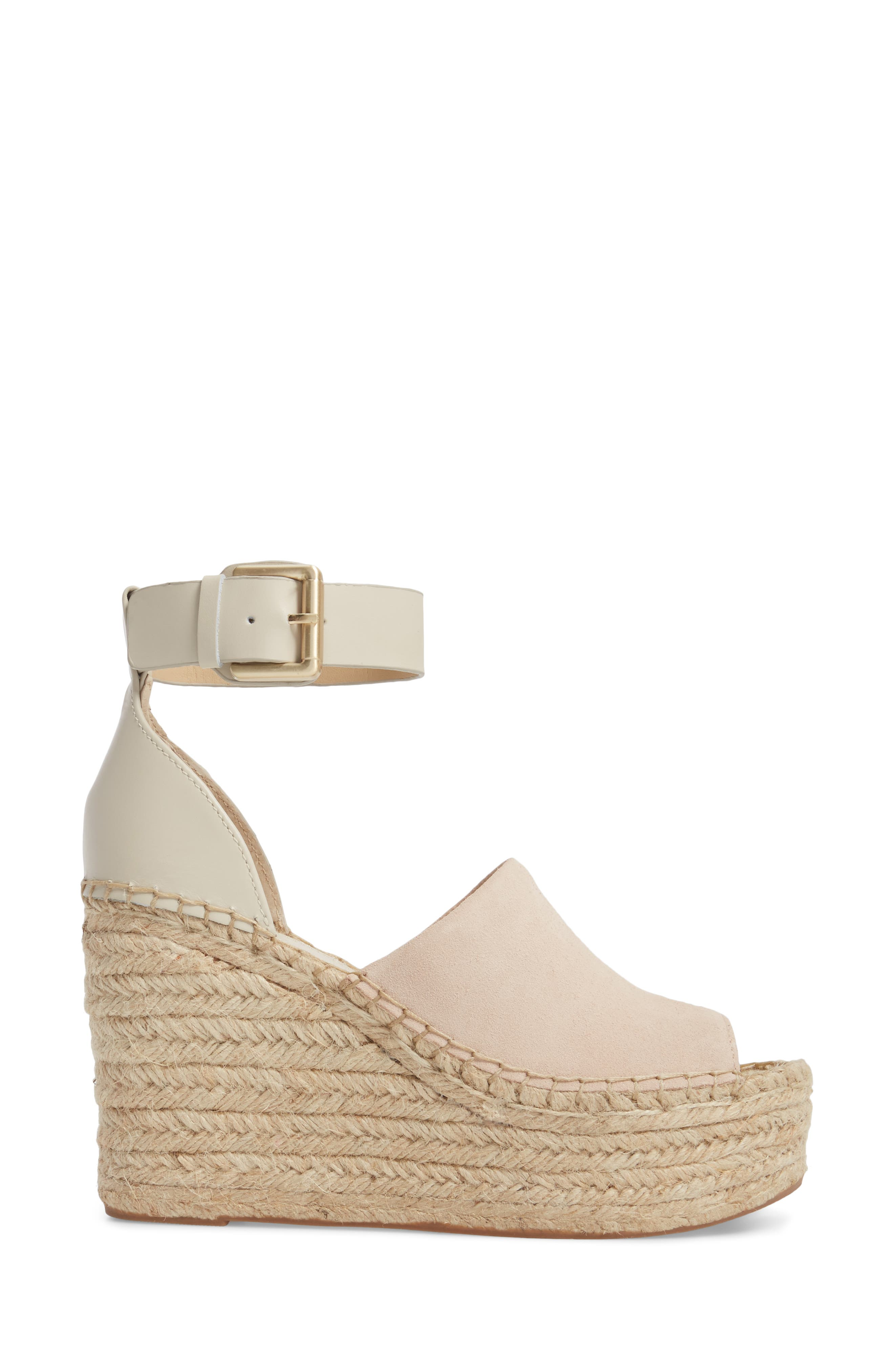 ,                             Adalyn Espadrille Wedge Sandal,                             Alternate thumbnail 3, color,                             IVORY SUEDE
