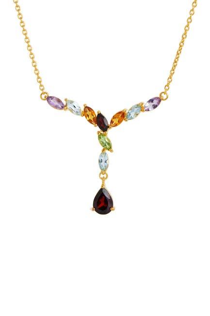 Image of Savvy Cie 18K Gold Vermeil Sterling Silver Multi Gemstone Dangle Necklace