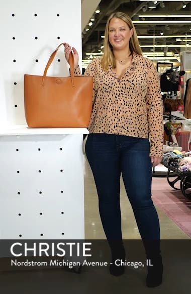 Contrast Lining Faux Leather Tote, sales video thumbnail