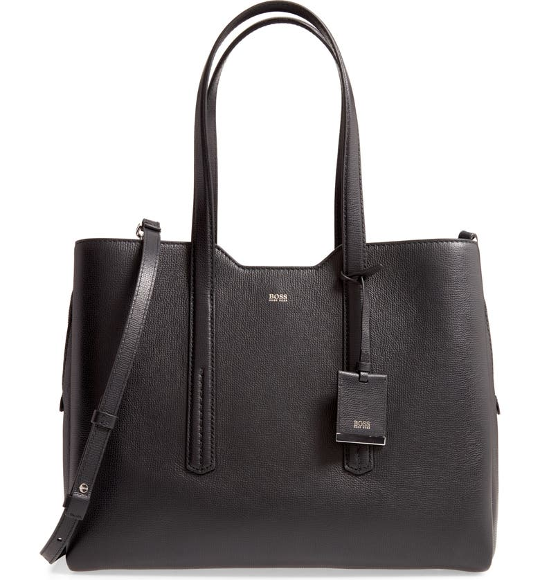 BOSS Taylor Leather Business Tote, Main, color, BLACK