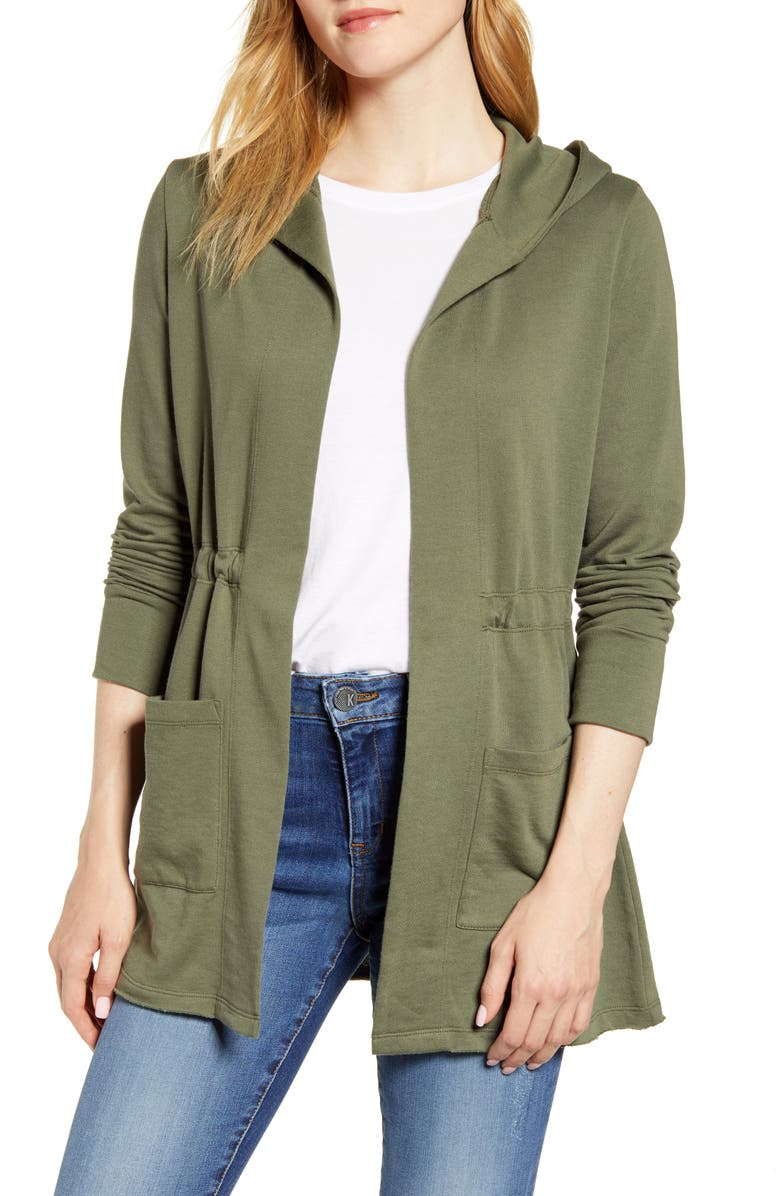 CASLON<SUP>®</SUP> Hooded French Terry Cardigan, Main, color, GREEN BEETLE