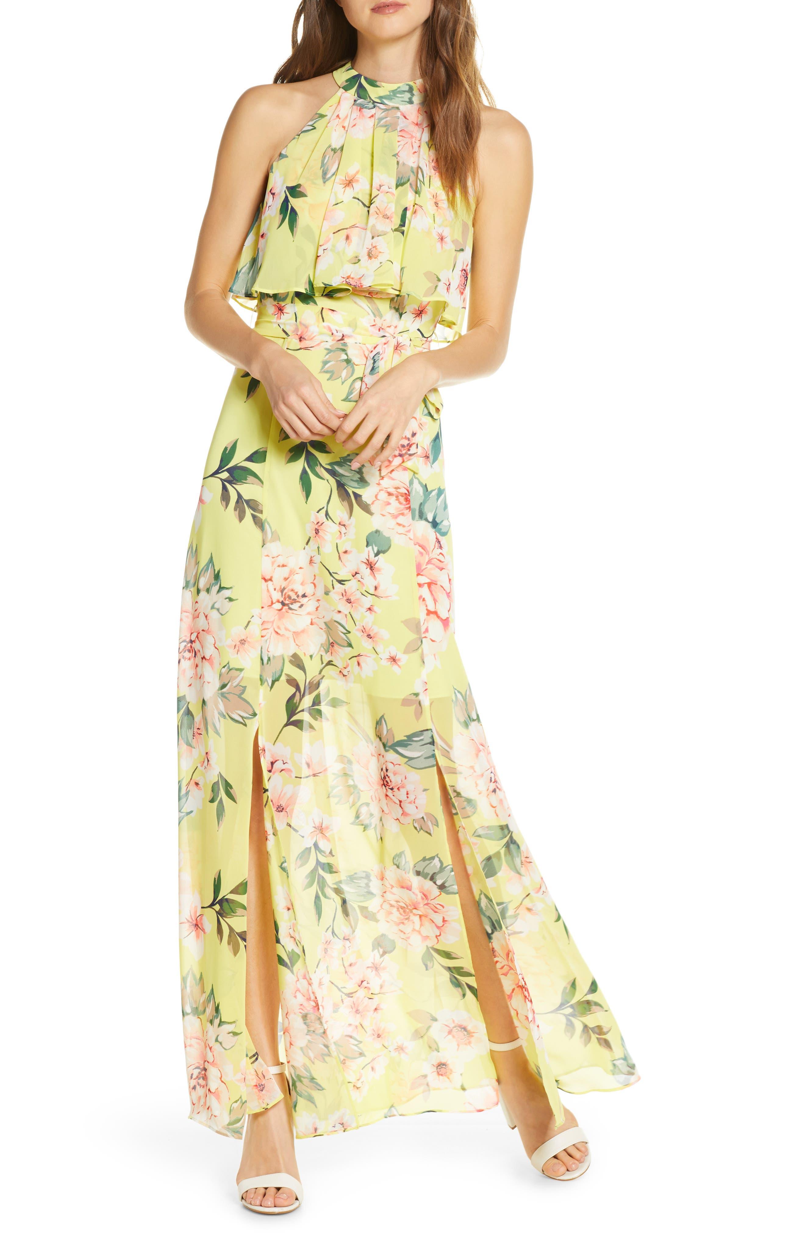 Image of Eliza J Floral Popover Chiffon Maxi Dress