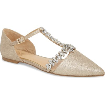 Jewel Badgley Mischka Maury Embellished T-Strap Flat, Metallic