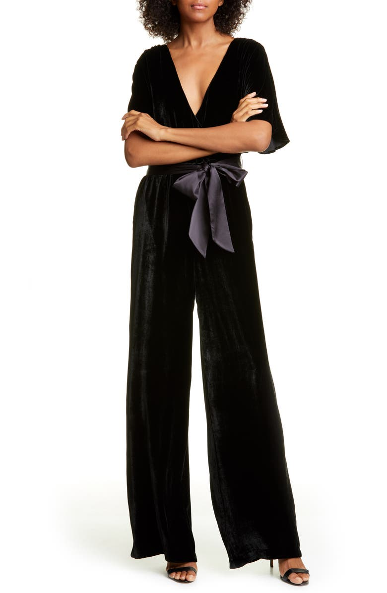 ALICE + OLIVIA Breanna Faux Wrap Front Velvet Jumpsuit, Main, color, BLACK