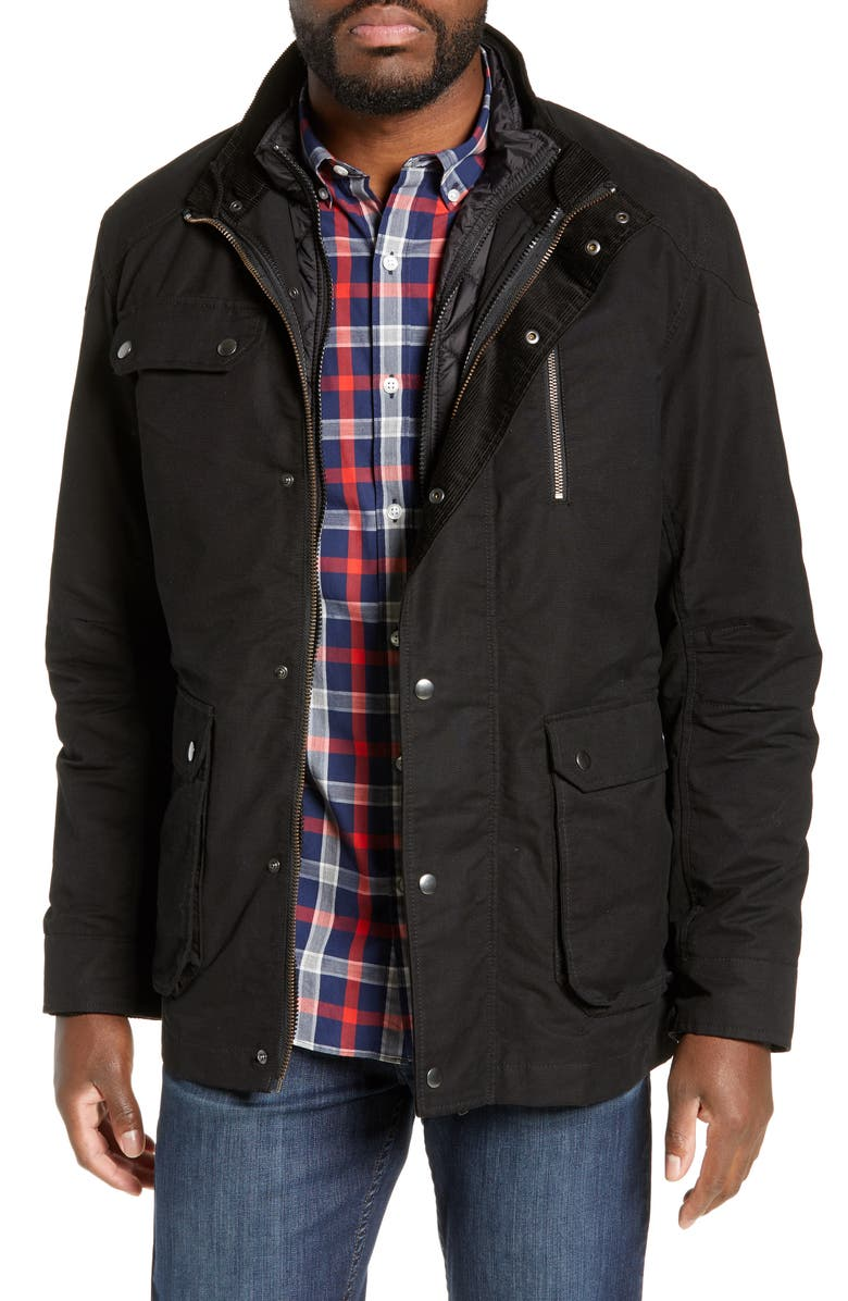 RODD & GUNN 'Harper' Water Resistant 3-in-1 Waxed Canvas Jacket, Main, color, 001