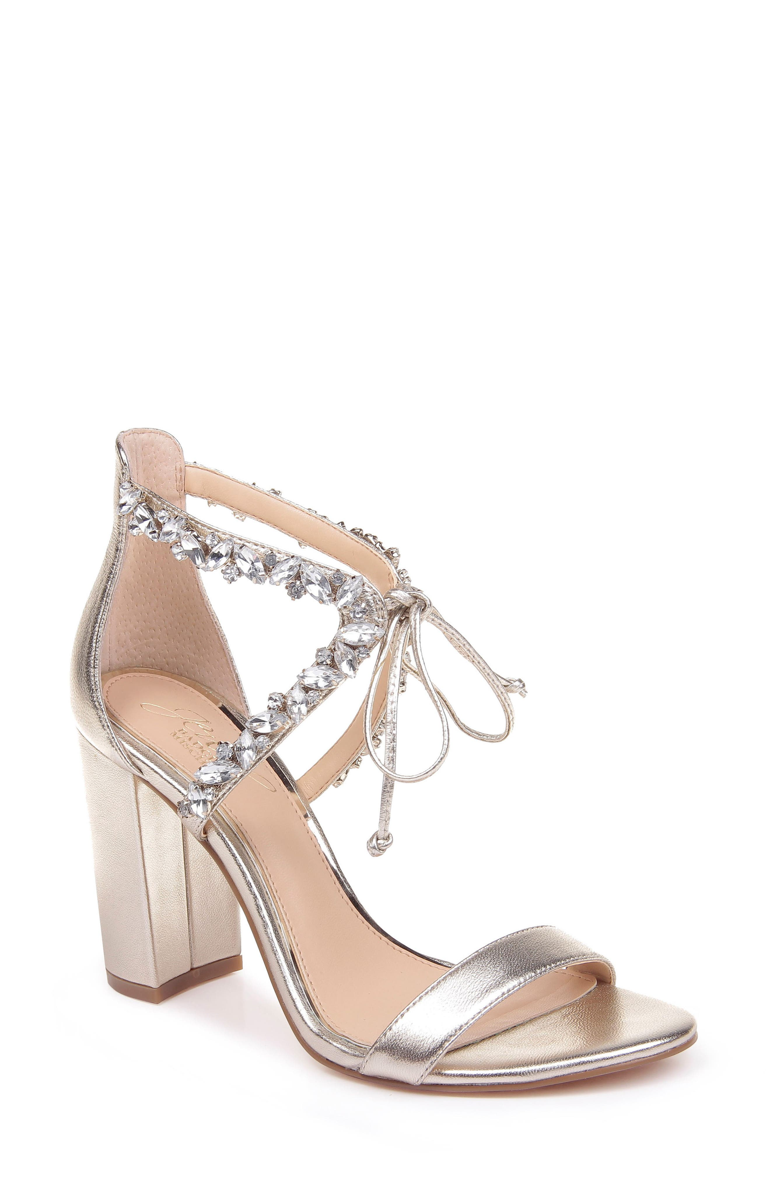 Faceted crystals add showstopping glamour to an elegant evening sandal lifted skyward by a wrapped block heel. Style Name: Jewel Badgley Mischka Thamar Embellished Sandal (Women). Style Number: 5567586. Available in stores.