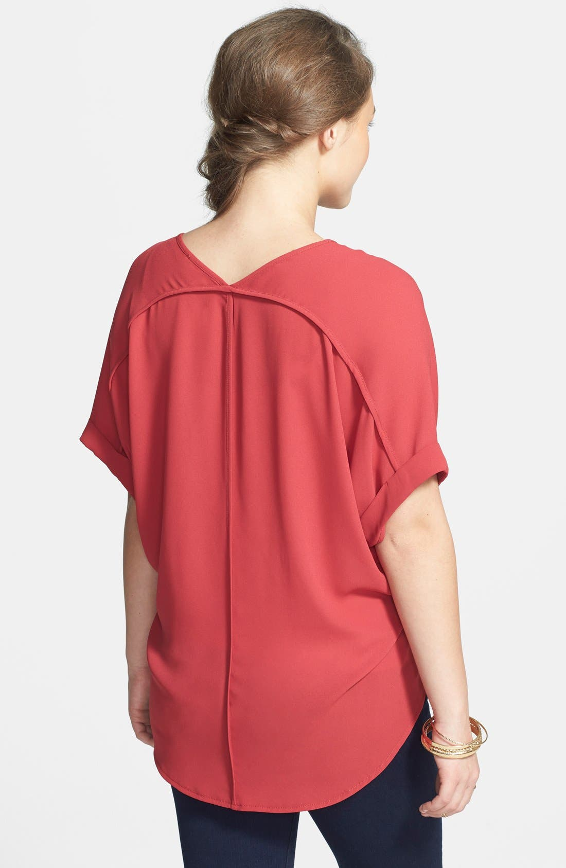 ,                             Lush Cuff Sleeve Woven Tee,                             Alternate thumbnail 145, color,                             601