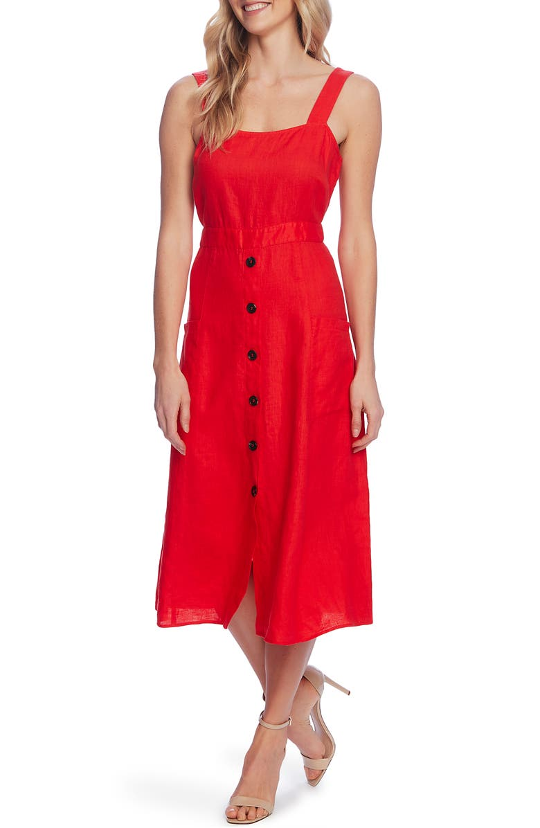 VINCE CAMUTO Linen A-Line Midi Sundress, Main, color, BRIGHT LADYBUG