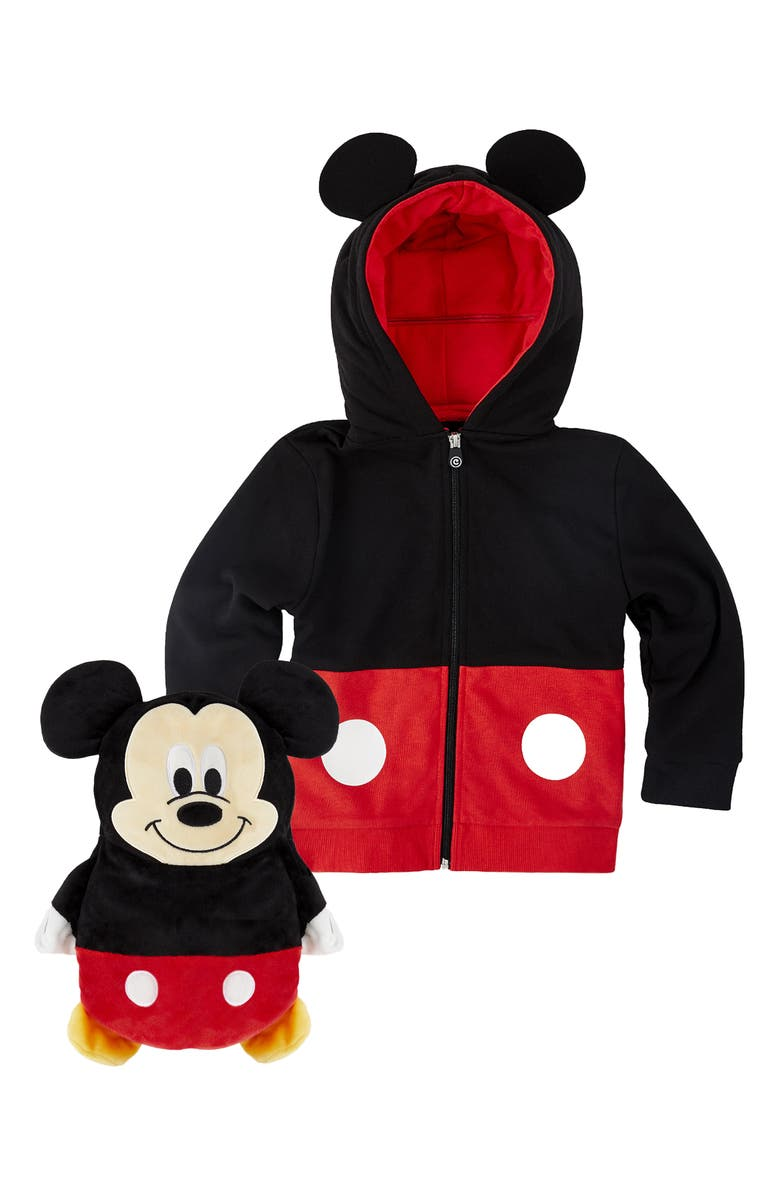 CUBCOATS Mickey Mouse<sup>®</sup> 2-in-1 Stuffed Animal Hoodie, Main, color, BLACK / RED MIX