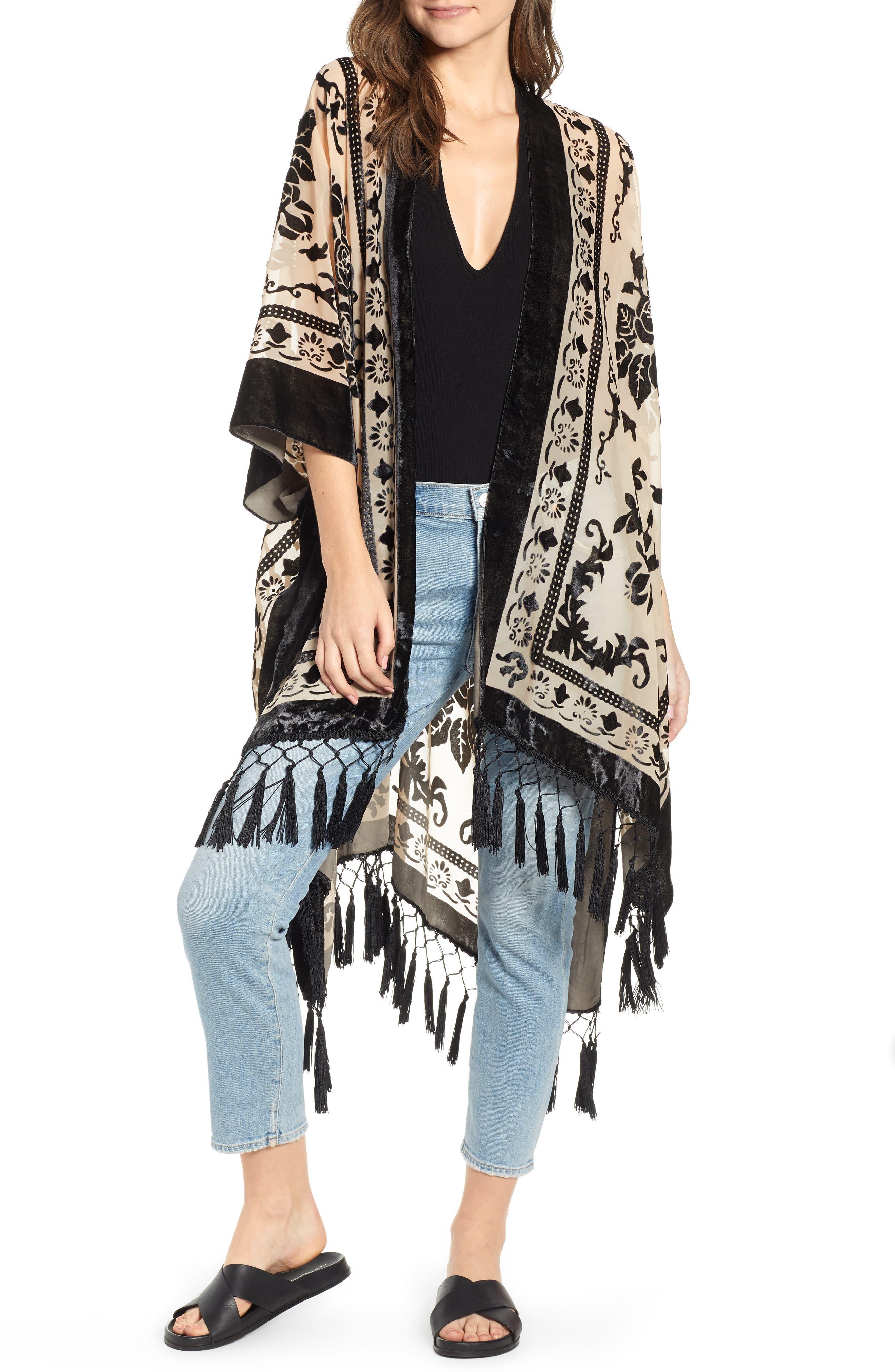 Shawls & Wraps | Vintage Lace & Fur Evening Scarves Womens Free People Nightbird Velvet Duster Size One Size - Black $88.00 AT vintagedancer.com