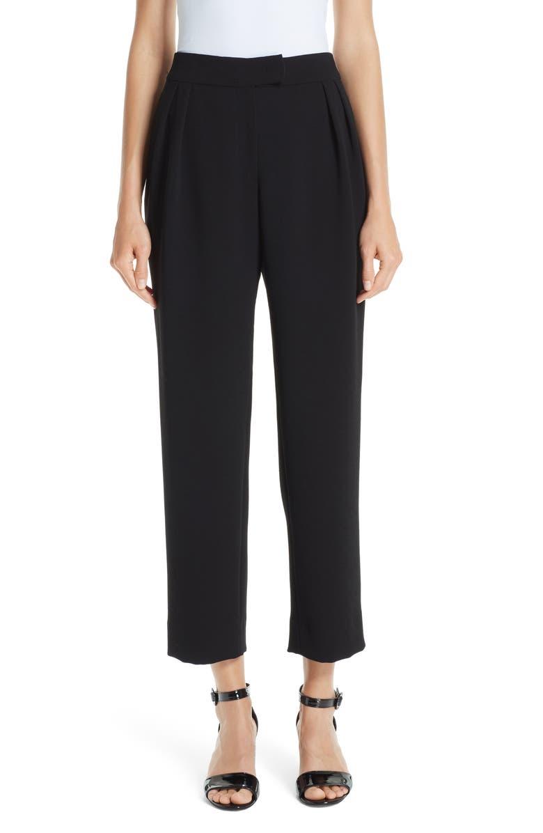 EMPORIO ARMANI Straight Crop Pants, Main, color, 001