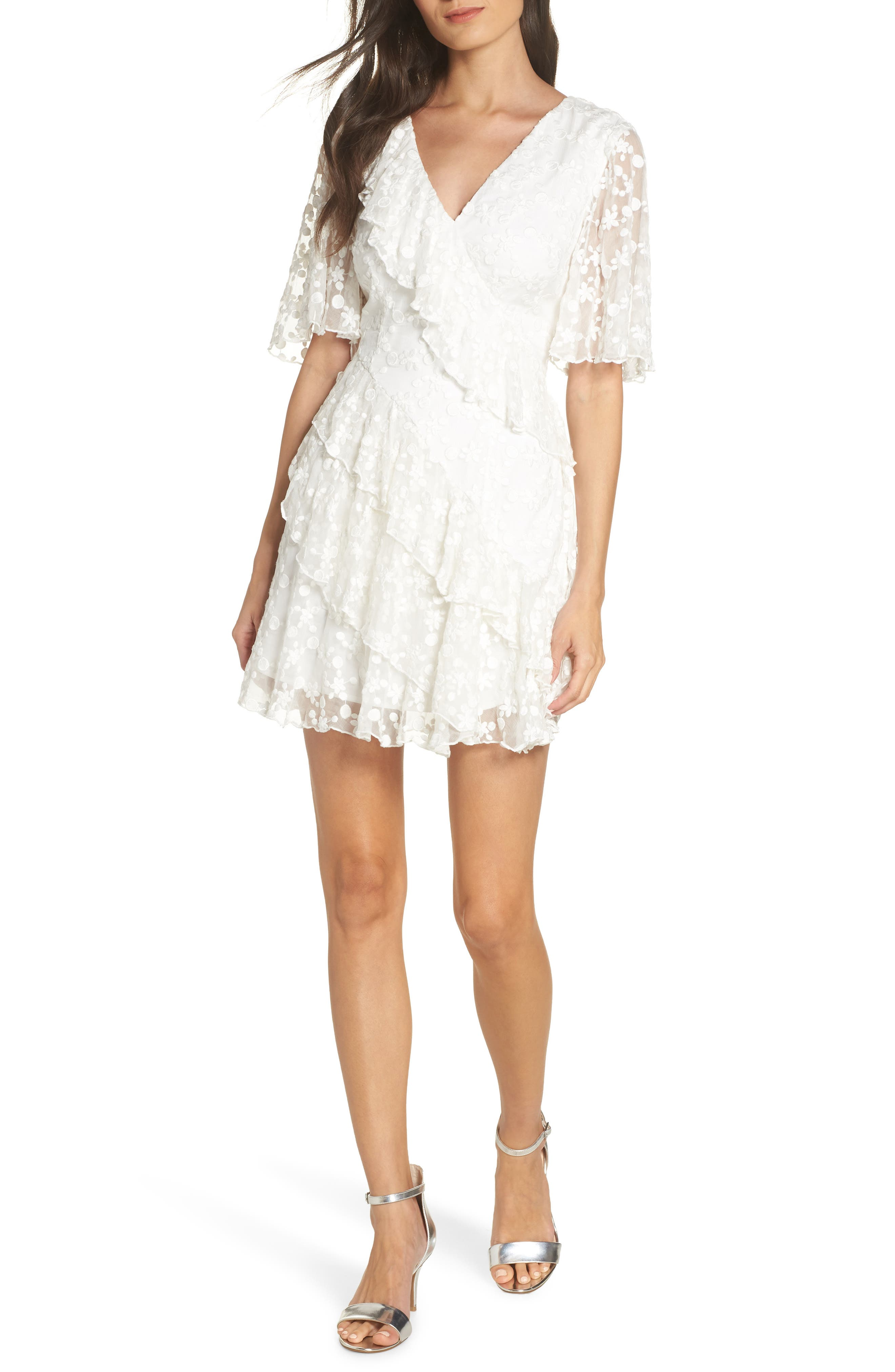 Keepsake The Label Retrospect Embroidered Mesh Ruffle Party Dress, Ivory