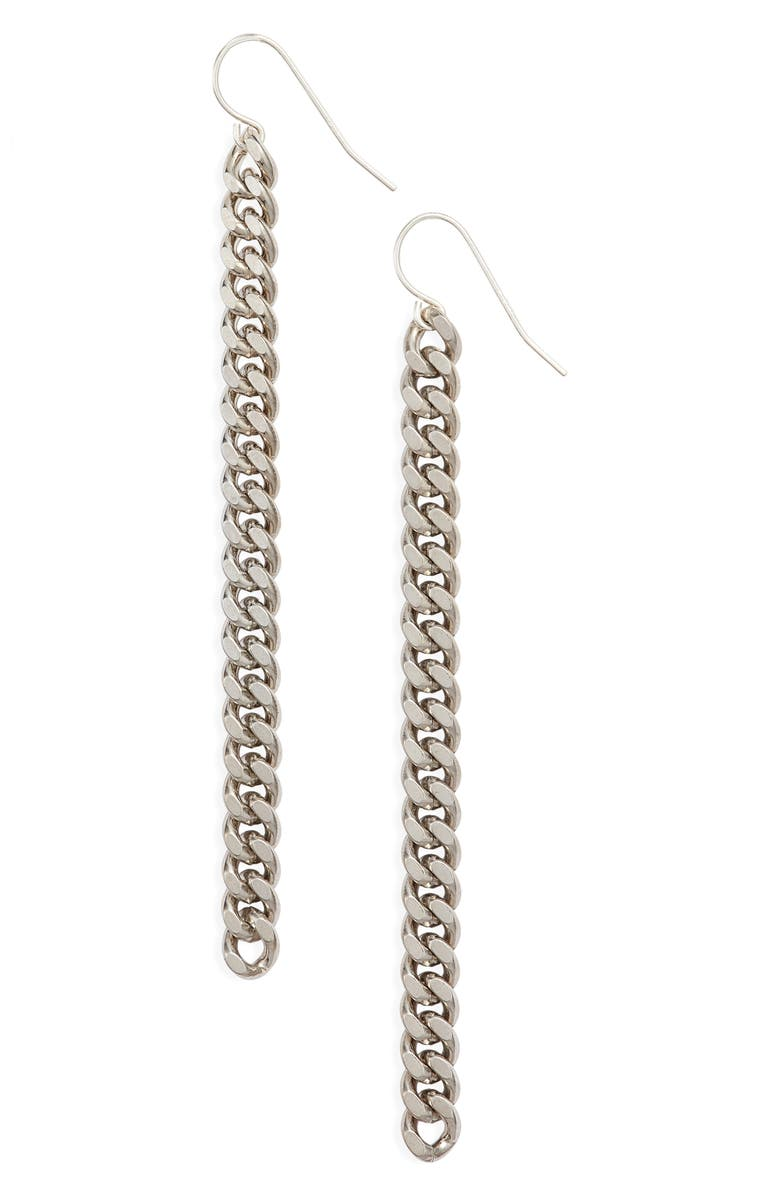 KNOTTY Classic Chain Linear Drop Earrings, Main, color, RHODIUM