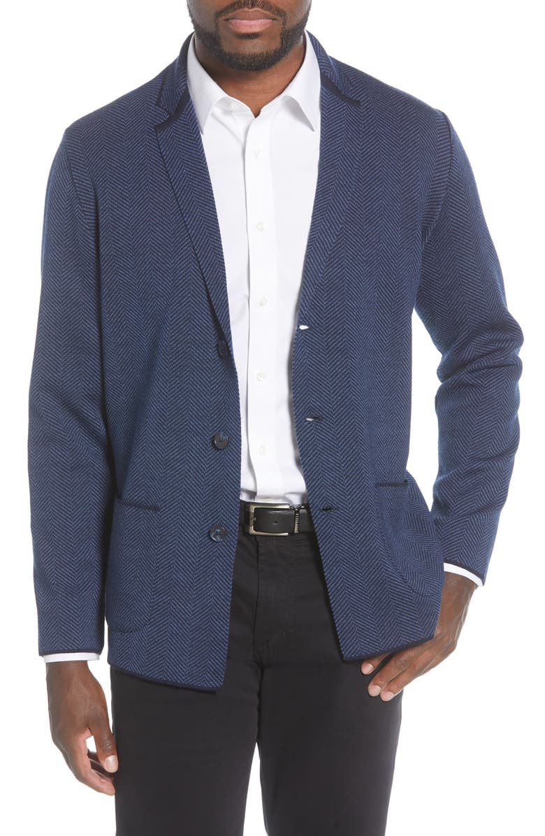STONE ROSE Herringbone Wool Blend Knit Blazer, Main, color, NAVY