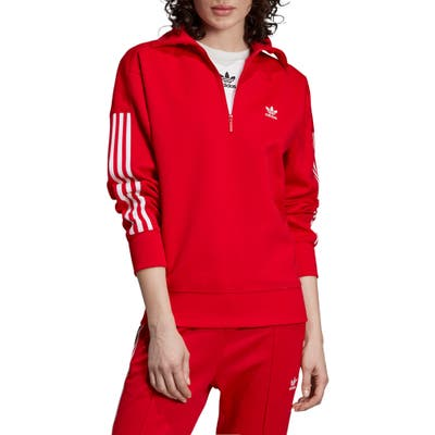 Adidas Originals Lock Up Quarter Zip Pullover, Red