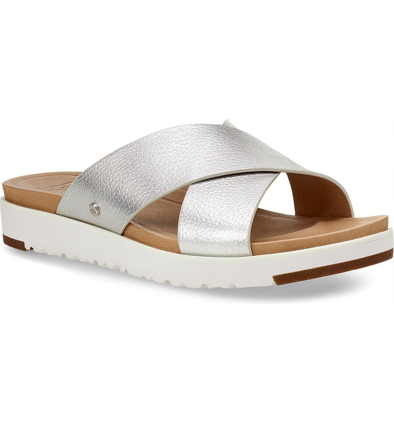 UGG<SUP>®</SUP> Kari Slide Sandal, Main, color, SILVER LEATHER