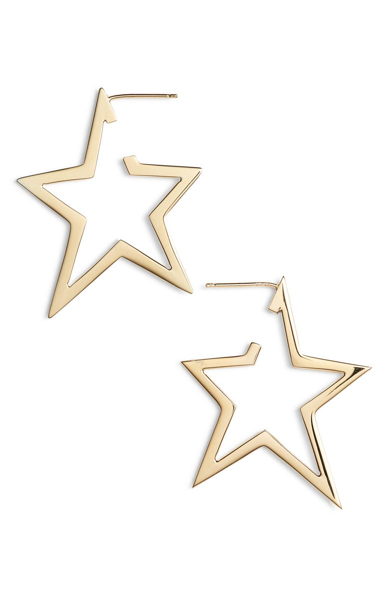 JENNIFER ZEUNER Sade Star Hoop Earrings, Main, color, YELLOW VERMEIL