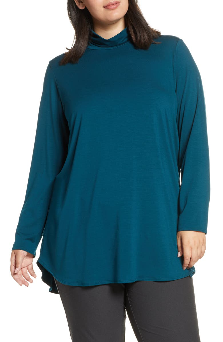 EILEEN FISHER Scrunch Neck Stretch Tencel<sup>®</sup> Lyocell Tunic, Main, color, BLUE SPRUCE