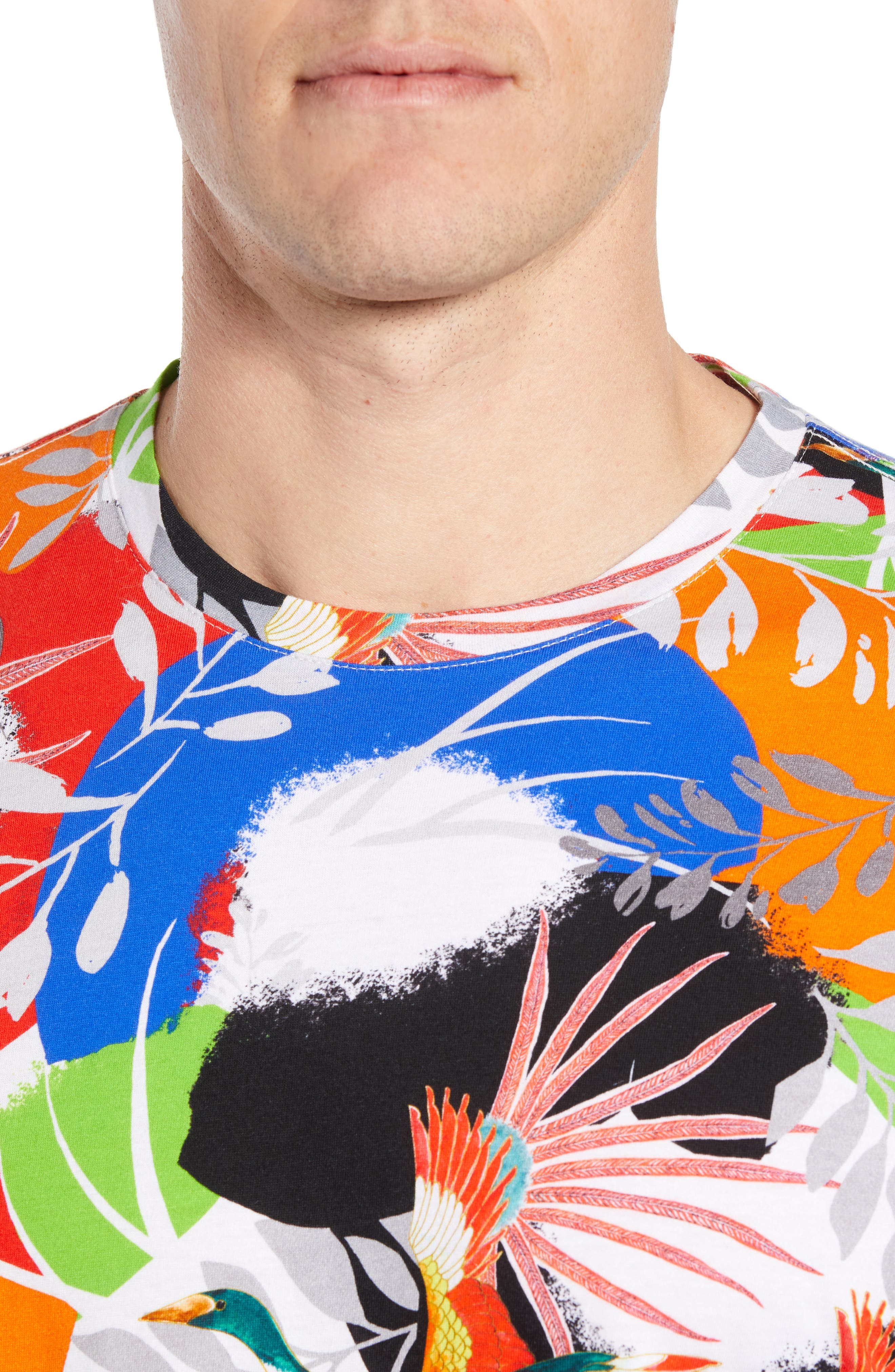 ,                             Flying Crane Tailored Fit T-Shirt,                             Alternate thumbnail 4, color,                             MULTI BLUE