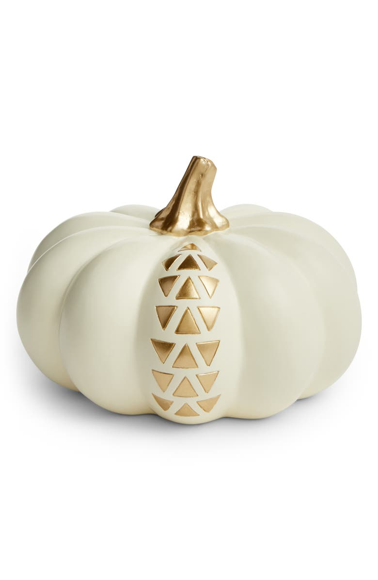 LEVTEX Ivory & Goldtone Pumpkin Decoration, Main, color, 100