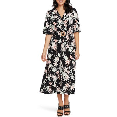 Chaus Floral Wrap Front Belted Midi Dress, Black