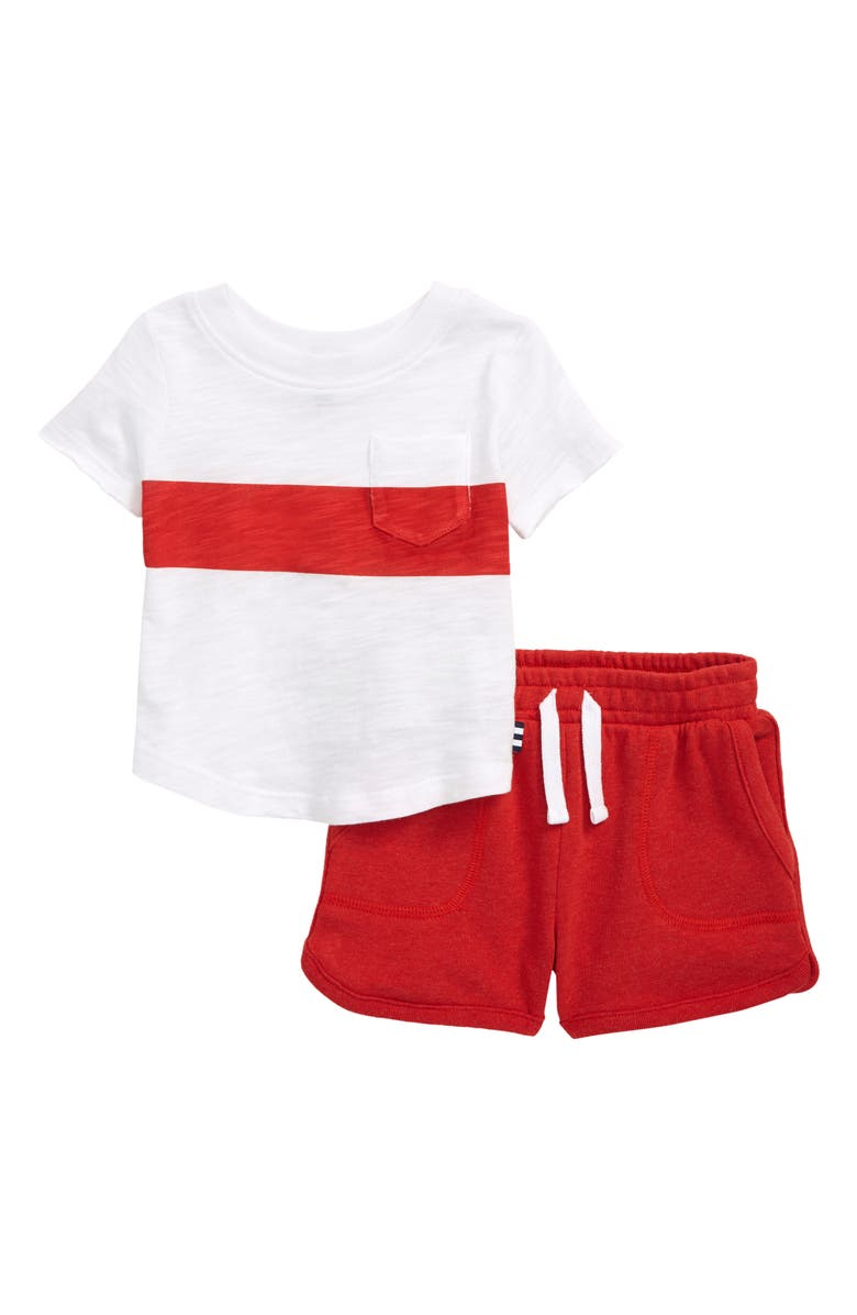 SPLENDID T-Shirt & Shorts Set, Main, color, MOLTEN LAVA