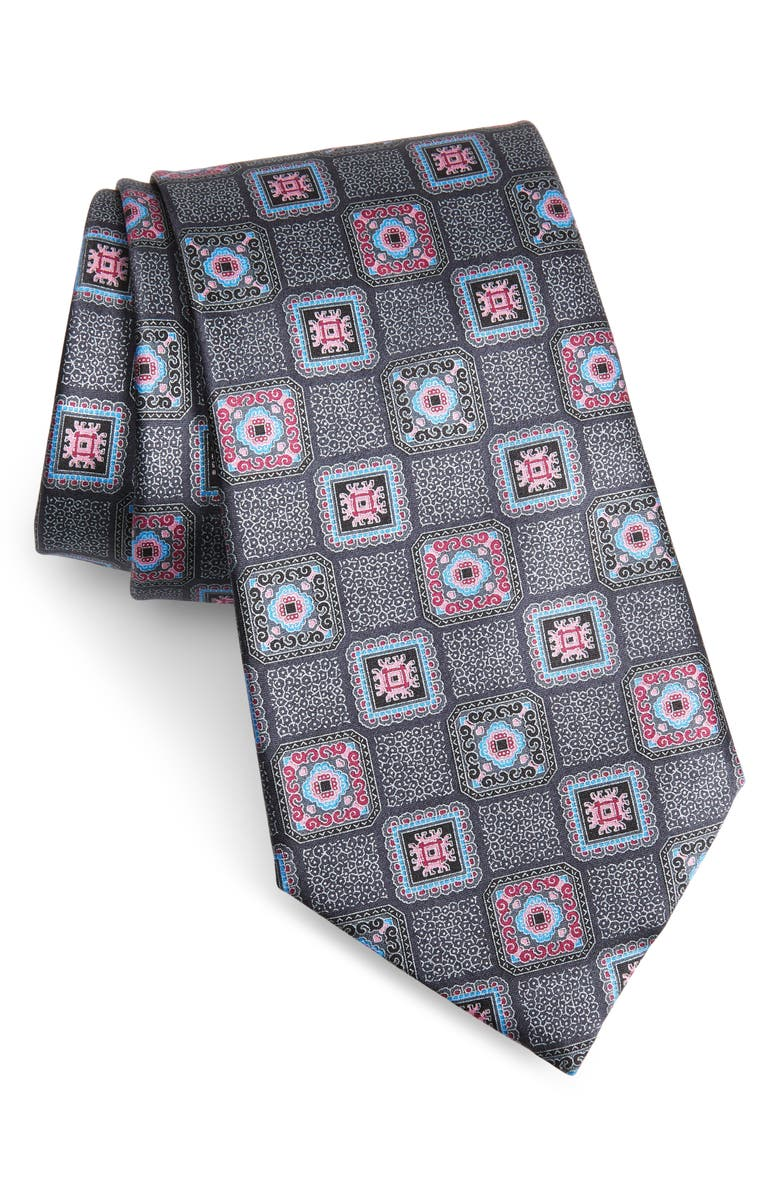 ERMENEGILDO ZEGNA Medallion Tile Silk Tie, Main, color, GREY